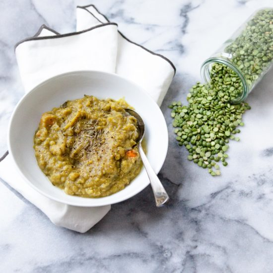 Slow cooker split pea soup in bowl