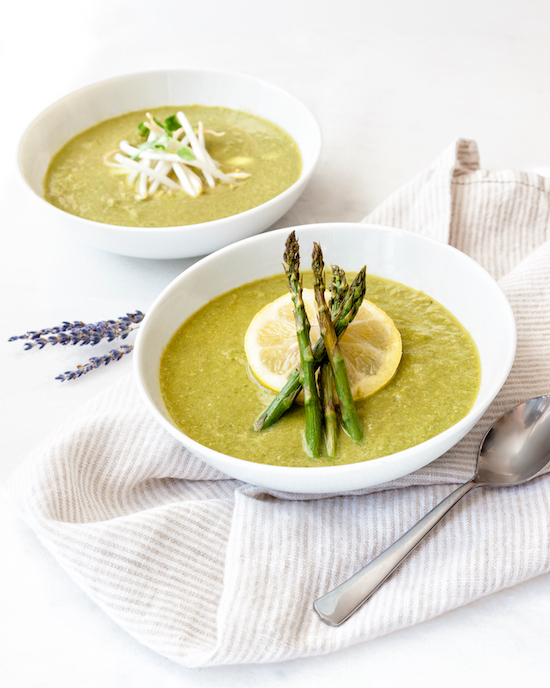 Spring detox soup with bean sprouts and spring asparagus