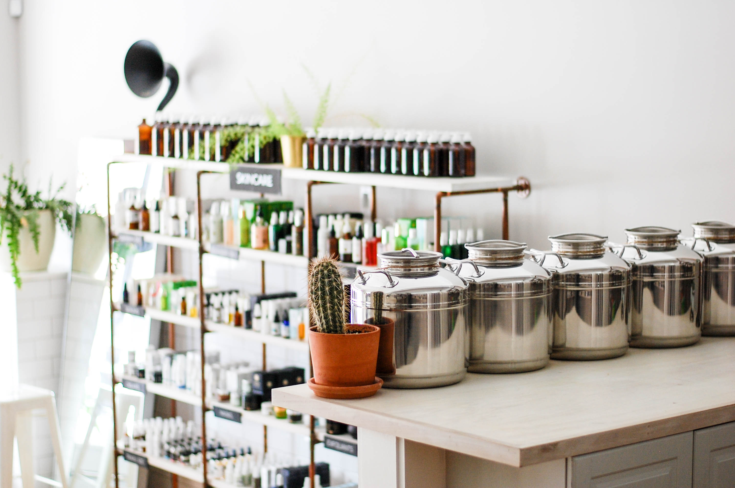 Clean beauty skincare routine products at Follian in Boston