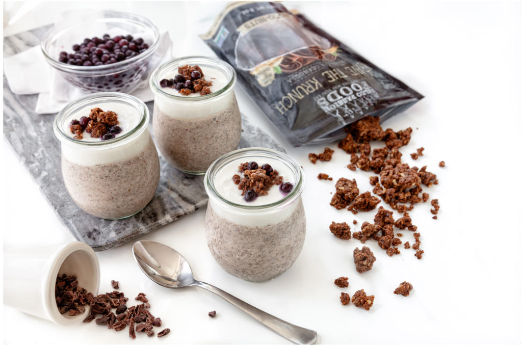 Paleo Chocolate chia pudding with dairy free coconut cream, topped with Paelo Passion Foods Granola