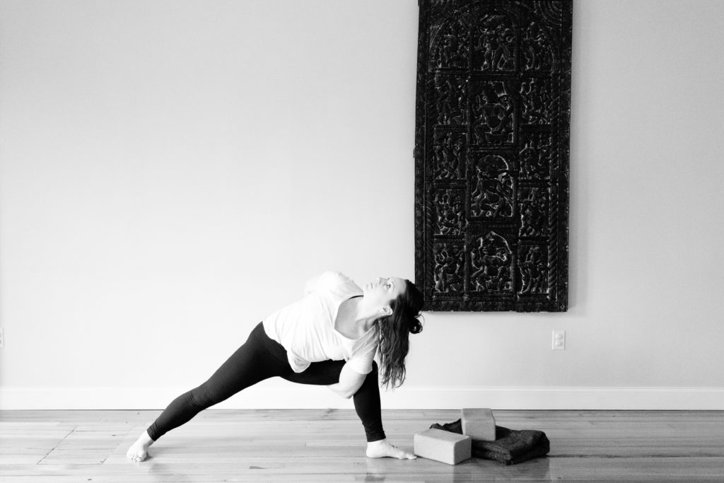 Kerri Axelrod in side angle pose at North End Yoga