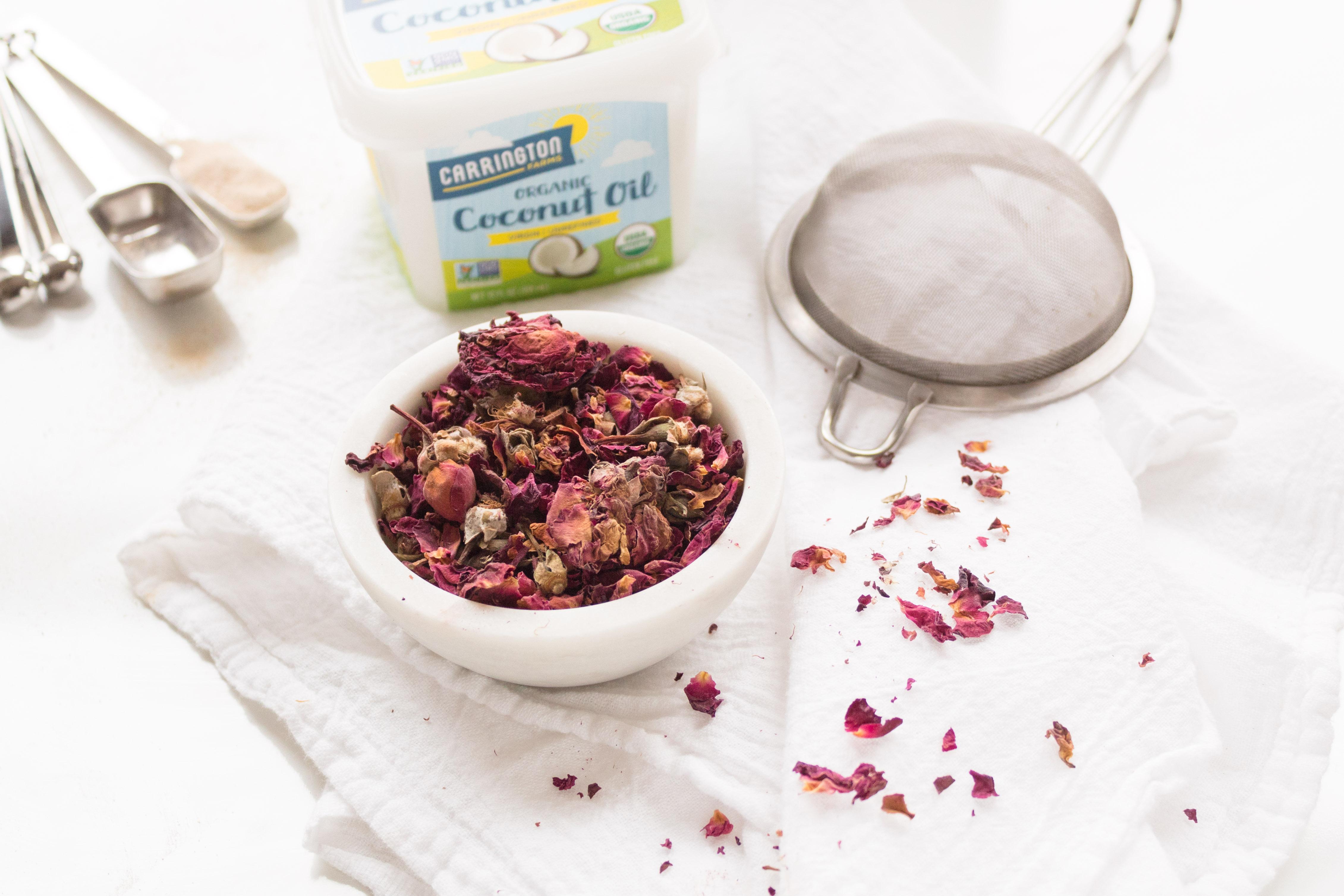 Kerri Axelrod rose tea with Carrington Farms Coconut Oil and Mountain Rose Herbs