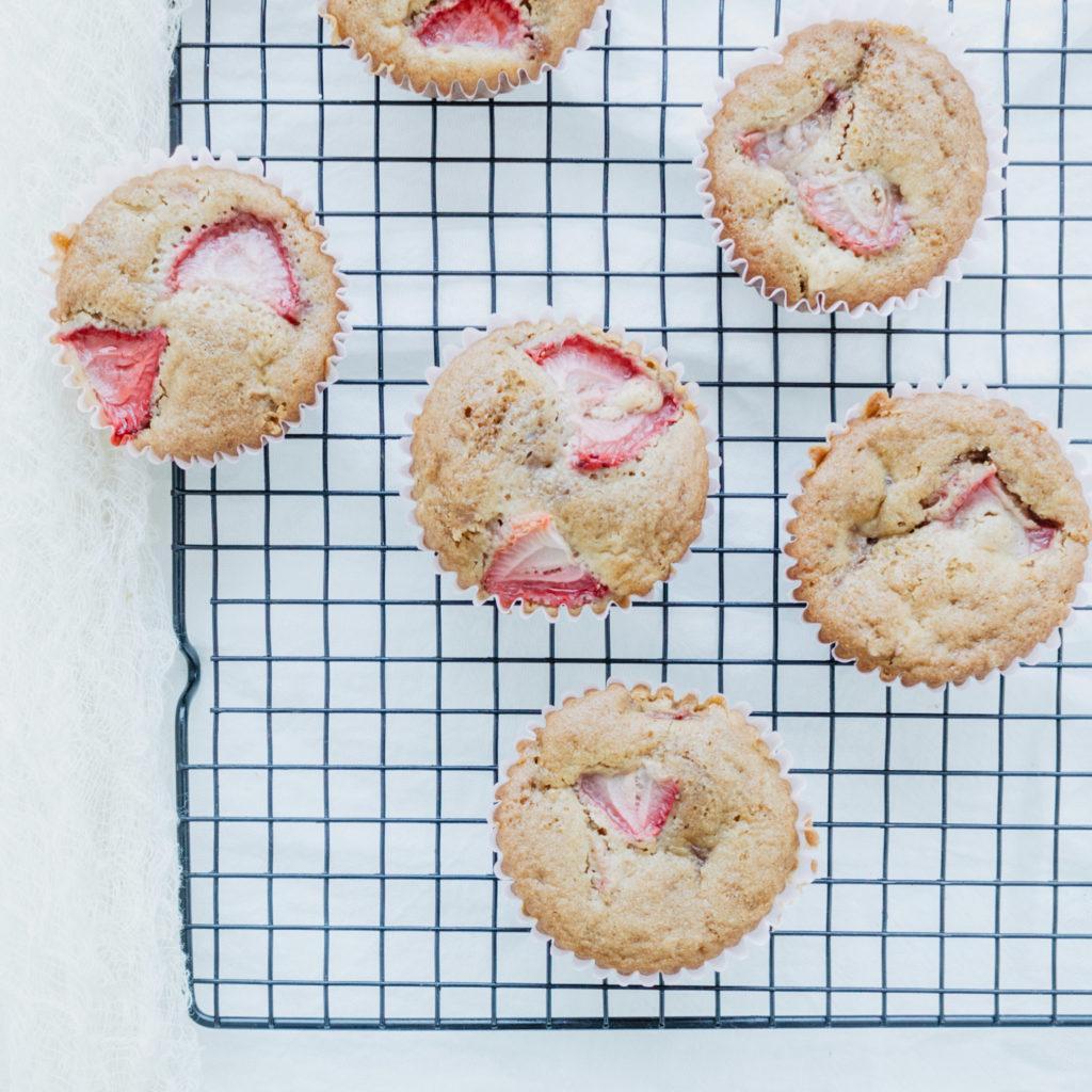 Gluten Free Dairy free strawberry rhubarb muffins